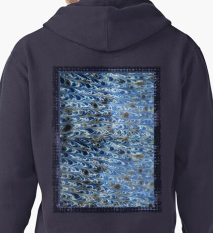 marbled paper - ink blue sea Pullover Hoodie