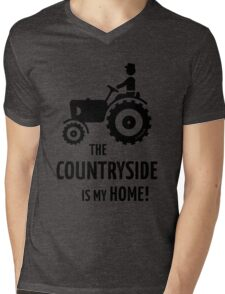 The Countryside Is My Home! (Farmer With Tractor) Mens V-Neck T-Shirt