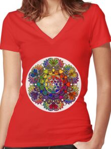 Heart Rainbow Mandala  Women's Fitted V-Neck T-Shirt