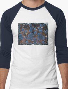 marbled paper - blue mushroom 2 layer Men's Baseball ¾ T-Shirt