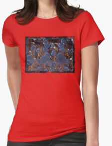 marbled paper - blue mushroom 2 layer Womens Fitted T-Shirt