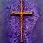 A gold Cross on a textured purple background. by ArtisticVizionz