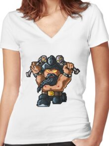 Pixel Pentakill Olaf Women's Fitted V-Neck T-Shirt