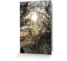 Statue in the setting sun Greeting Card