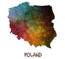 Map of Poland colored Photographic Print