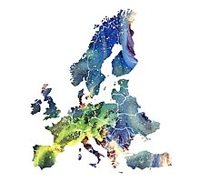 Europe Map cosmic Photographic Print