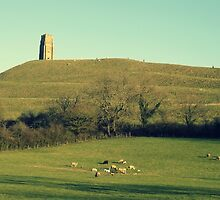 Glastonbury Tor With Spring Lambs by Princess Moon Feathers