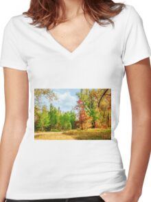 Magic fall Women's Fitted V-Neck T-Shirt