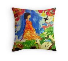 Fantasy forest, watercolor Throw Pillow