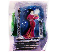 A wintery night, watercolor Poster