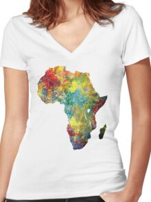 Africa map 3 Women's Fitted V-Neck T-Shirt