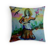Girl holding up flowers, watercolor Throw Pillow