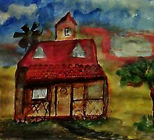 Lttle house on the paraie, watercolor by Anna  Lewis