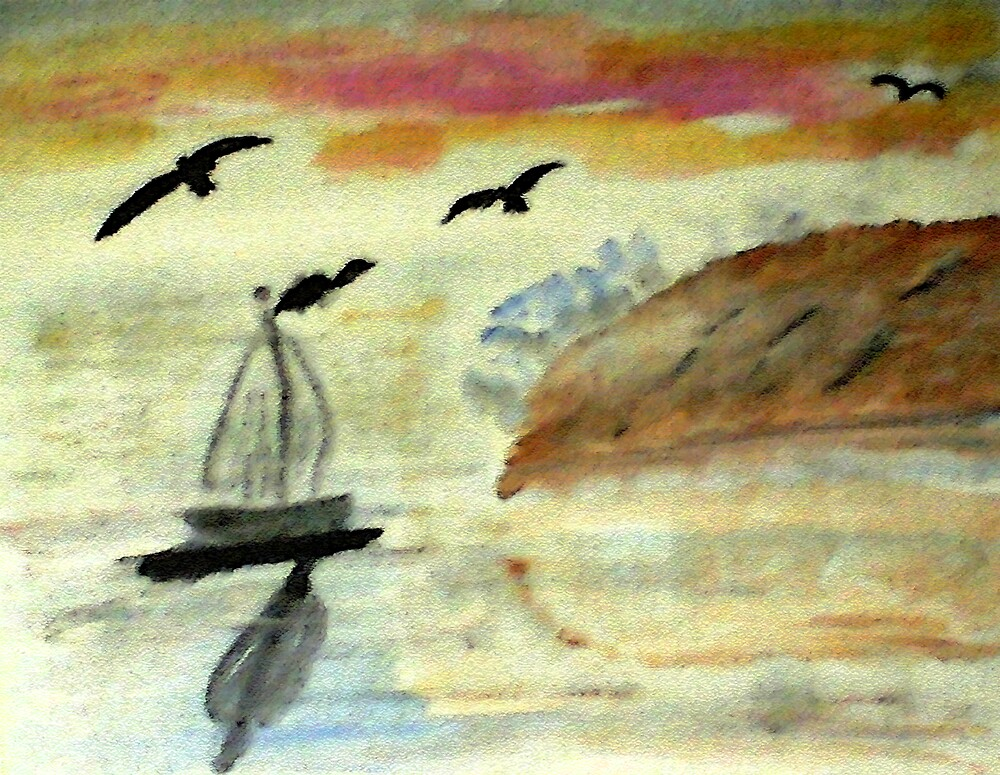 Early morning sail, watercolor by Anna  Lewis, blind artist