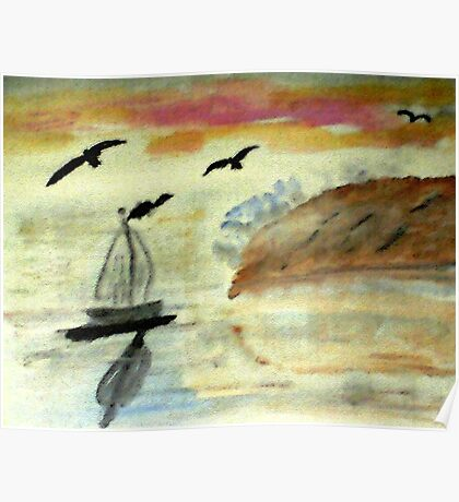 Early morning sail, watercolor Poster