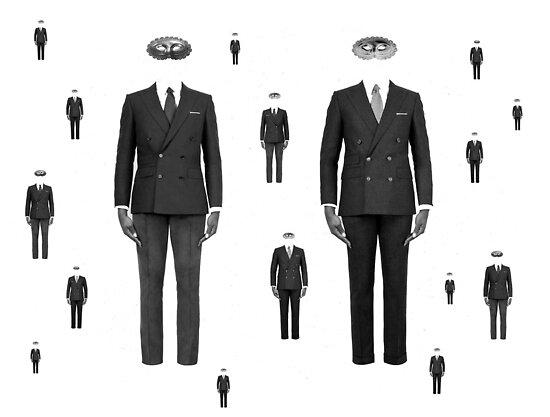 Men with masks by Canela Cinnamon Pontelli