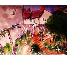 Mother and child in garden ( a Monet), watercolor Photographic Print