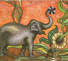 Elephant With Phonograph by Madison Skriver