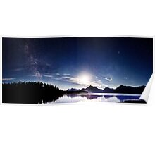 The Milkyway Meets the Moon - Grand Teton National Park, Wyoming Poster