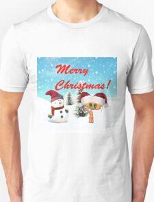 Happy Cat With A Snowman Unisex T-Shirt