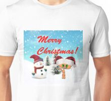 Happy Cat With A Snowman Unisex T-Shirt