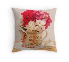 Beautiful Antique Tea Pot Full Of Pink Flowers Throw Pillow