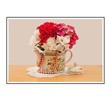 Beautiful Antique Tea Pot Full Of Pink Flowers Photographic Print