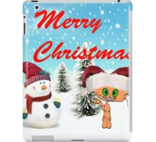Happy Cat With A Snowman iPad Case/Skin