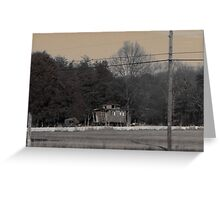 Rustic Old Railroad Car in Small Town Greeting Card