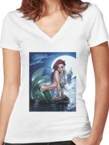 Siren, mermaid Women's Fitted V-Neck T-Shirt