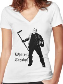 Jason is not a Crosby fan... Women's Fitted V-Neck T-Shirt