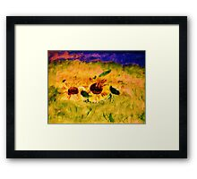 A field of sunflowers, watercolor Framed Print