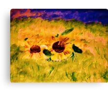 A field of sunflowers, watercolor Canvas Print