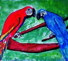 The Macaws are gathering, watercolor by Anna  Lewis
