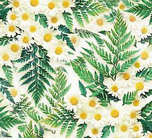 Textured Vintage Daisy and Fern Pattern by micklyn