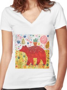The Bear That Carries the Plant Women's Fitted V-Neck T-Shirt