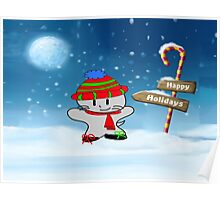 Cat Wishes For Happy Holidays Poster