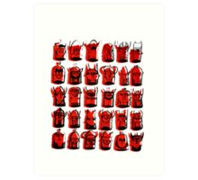 Wee Helmeted Red Folk Art Print