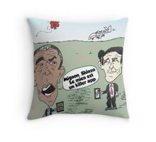 OBAMA et ABE drone caricature Throw Pillow