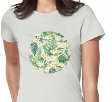 Textured Vintage Daisy and Fern Pattern Womens Fitted T-Shirt