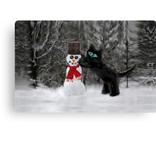 Cat Makes A SnowMan Canvas Print