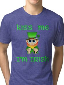 Kiss Me I'm Irish & Cute  feat Lil Blarney  Tri-blend T-Shirt