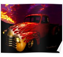 Flaming Chevy Pickup and a Sundowner Picnic Poster