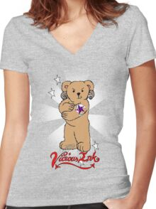 Bad Teddy Women's Fitted V-Neck T-Shirt