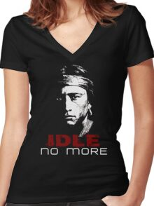 IDLE NO MORE (Navajo) Women's Fitted V-Neck T-Shirt
