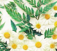 Textured Vintage Daisy and Fern Pattern Sticker