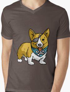 Pirate corgi funny nerd geek geeky Mens V-Neck T-Shirt