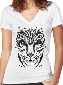 Tiger Ink Women's Fitted V-Neck T-Shirt