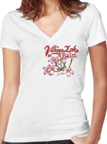Frangipani Blossoms Women's Fitted V-Neck T-Shirt