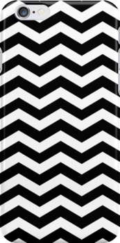 Black and White Zig Zag Chevron Pattern Iphone and Ipod Cases by Clickcreations
